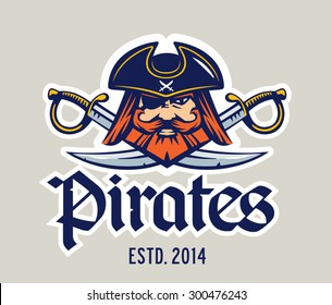 Pirate captain head and two swords mascot, logo template
