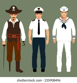 pirate, captain and sailor man characters, vector cartoon illustration,