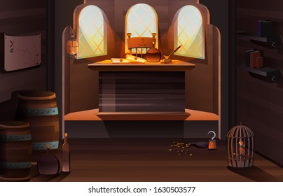 Pirate captain ship cabin wooden room interior with bottle, scrolls and feather pen on desk, treasure map on wall, gold coins, cage with parrot and hand hook stand on floor Cartoon vector illustration