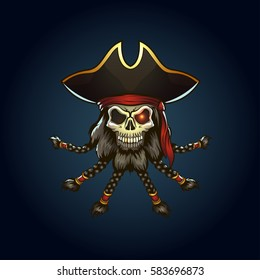 pirate captain skull cartoon illustration