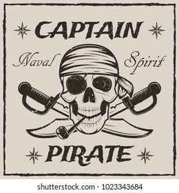 Pirate captain skull and crossed swords. Vector sketch grunge illustration of human skull wearing bandana and eyepatch with smoking pipe. Vintage logo, tattoo template design.