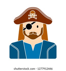 pirate caracter icon - pirate caracter isolate, halloween sword illustration - Vector pirates