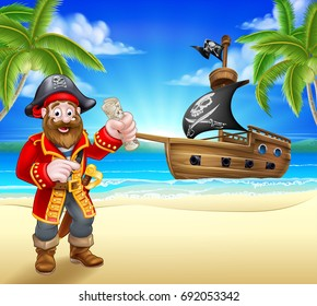 A pirate cartoon character on a tropical beach or island with a pirate ship sailing in the background