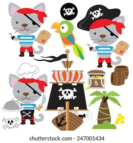 Pirate cat vector illustration