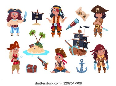 Pirate characters. Cartoon kids pirates, sailors and captain vector isolated set