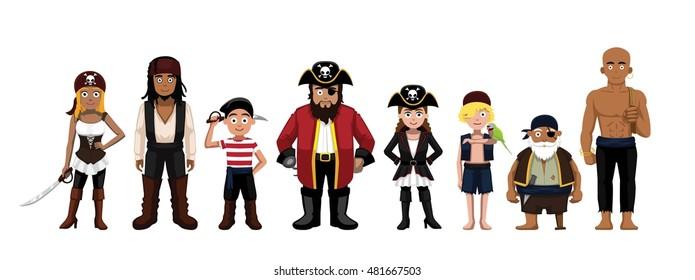 Pirate Characters Set Cartoon Vector Illustration