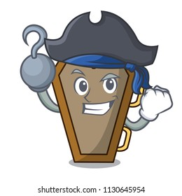Pirate coffin character cartoon style vector illustration