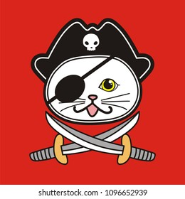 Pirate, Cute cat illustration for t-shirt or other uses,in vector