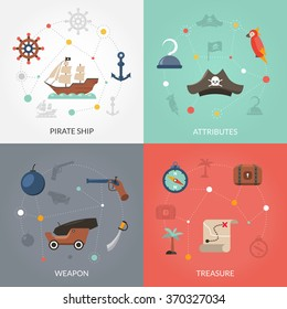 Pirate design concept set with ship weapon and treasure flat icons isolated vector illustration
