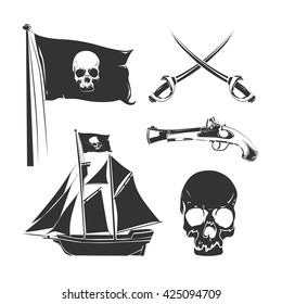 Pirate elements for vintage logo, labels and badges. Emblem skull. Vector illustration