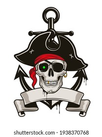 Pirate emblem with anchor and skull in a hat and eye patch. Vector hand drawn cartoon illustration isolated on white background