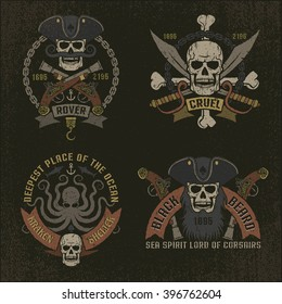 Pirate emblem in grunge style. Perfectly suited for print on T-shirts. Textures and text on separate layers.