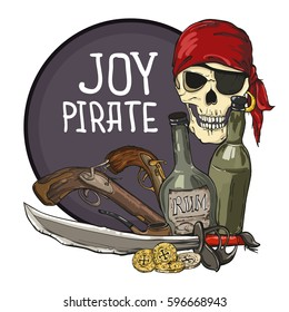 Pirate emblem with skull, bottles of the rum, pistols, coins, sword on circle background. Vector illustration