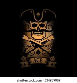 Pirate emblem skull with a pistol on a black background. Logo ace of spades.
