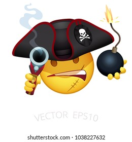Pirate emoji. Vector smiley of Caribbean corsair. Tricorn decorated with a Jolly Roger. Angry character aims with a flintlock pistol and ready to throw grenade with a burning wick. Isolated emoticon.