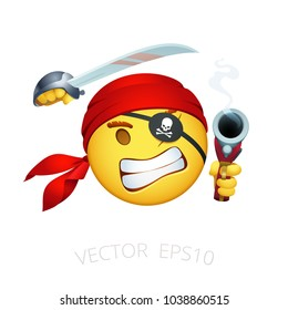 Pirate emoji. Vector smiley of Caribbean corsair. One-eyed seadog with a blindfold. Funny character swings his cutlass, aims with a smoking flintlock pistol. Isolated chat emoticon with a red bandana.