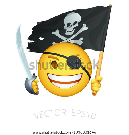 8b2a704c4623 Funny character with a blindfold holds naval cutlass and waving tattered  black Jolly Roger flag. Isolated emoticon. - Vector