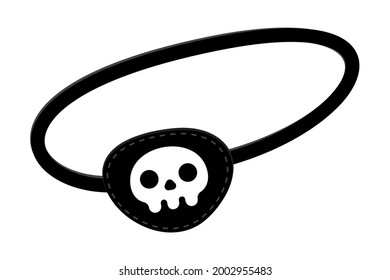 Pirate eye patch icon sign flat style design vector illustration isolated on white background. Black eye patch with skull and bones symbols.
