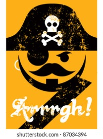 Pirate face with hat, distressed poster