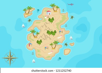 Pirate fantasy cartoon island map. Vector Treasure island.