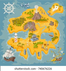 Pirate fantasy island map builder in colorful illustration and hand draw of mystery realm