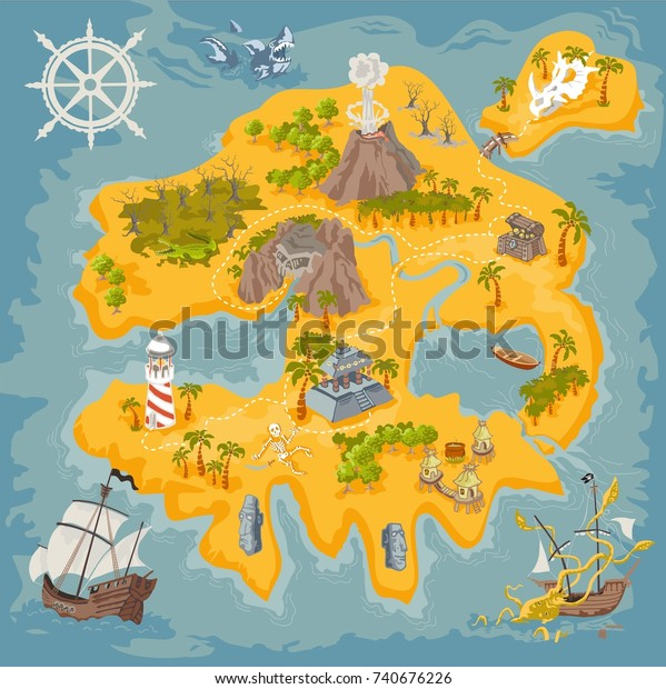 Pirate Fantasy Island Map Builder Colorful Stock Vector ... on map creation freeware, housing maps, map engineering company, maps of the world, maps on us, map software for os x, map maker pro, google maps mania, map captain, map of amtrak through glacier park,