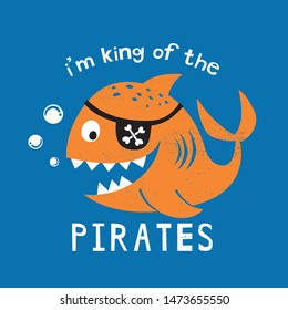 pirate fish drawn as vector for kids fashion