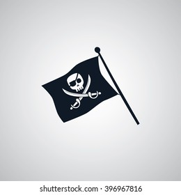 pirate flag flat icon theme vector art illustration