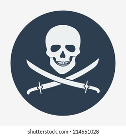 Pirate flag icon, jolly roger, skull and sabers. Flat design style modern vector illustration. Isolated on background. Elements in flat design.