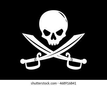 Pirate flag with image of human skull and crossed sabers on black background. 	 Filibuster symbol. Art vector illustration.