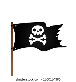 Pirate flag with Jolly Rogeras skull and crossing bones flat style design vector illustration isolated on white background.