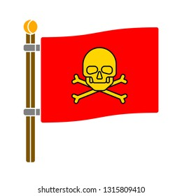 pirate flag. jolly-roger icon. isolated pirates flag, logo skull and crossbones