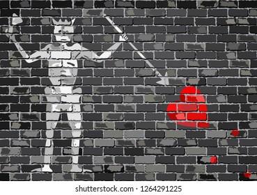 Pirate flag on a brick wall - Illustration,  Blackbeard pirate flag on brick textured background