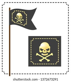 Pirate flag with the symbol of the jerry roger. Skull and Bones. Logo design.