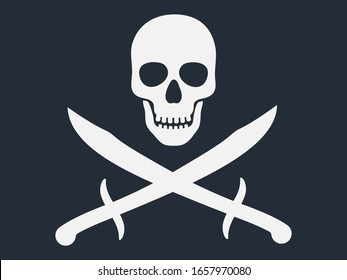Pirate flag symbol with jolly human skull and crossed sabers or swords. White color vector illustration isolated on dark background.