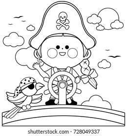 Pirate girl captain sailing on ship with steering wheel and a parrot. Vector black and white coloring book page