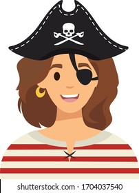 Pirate girl character in flat style. Cartoon pirate girl isolated on white backgorund. Vector stock