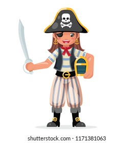 Pirate girl children costume masquerade teen party female character design vector illustration