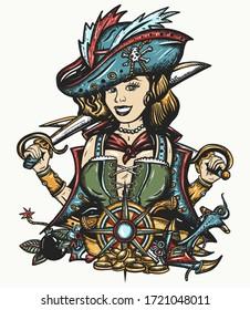 Pirate girl. Crime sailor woman portrait, pin up style. Old school tattoo art.  Marine adventure t-shirt design. Cartoon character. Sea wolf, female. Sabres, guns, gold coins, compass