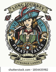 Pirate girl. Crime sailor woman portrait, pin up style. Old school tattoo art. Marine adventure. Cartoon character. Sea wolf, female. Template for clothes, t-shirt design. Vector