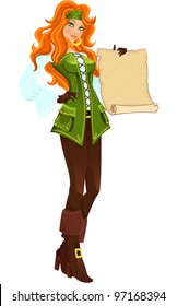 Pirate girl with scroll. Vector illustration