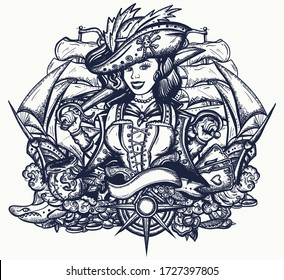 Pirate girl and ships. Marine adventure t-shirt design. Cartoon character. Sea wolf female. Crime sailor woman portrait, pin up style. Old school tattoo art