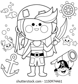 A pirate girl with a sword and other pirate themed illustrations. Vector black and white illustration
