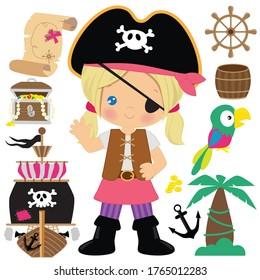 Pirate girl vector cartoon illustration