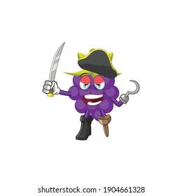 pirate grape mascot cartoon character illustration design with sword