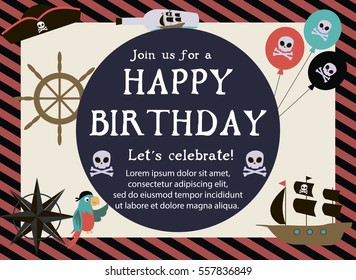 Pirate Happy Birthday invitation card template. Vector illustration
