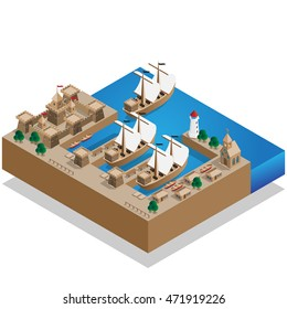 Pirate Harbor. Isometric. Vector illustration.