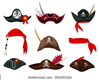 Pirate hat. Carnival pirate mask, hat and bandana costume collection. Festive clothes accessory. Filibuster headgear outfit isolated set. Vector buccaneer headdress. Sea piracy cap illustration