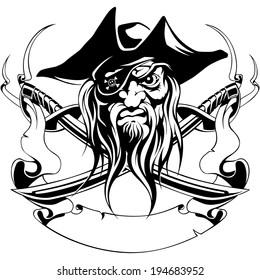 pirate hat, jolly roger, swords, ribbon, symbol, black, tattoo, vector illustration