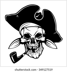 Pirate with pirate hat and pipe - isolated on white